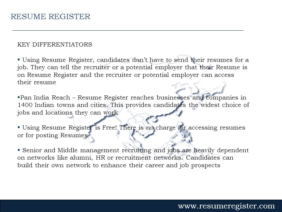 RESUME REGISTER KEY DIFFERENTIATORS
