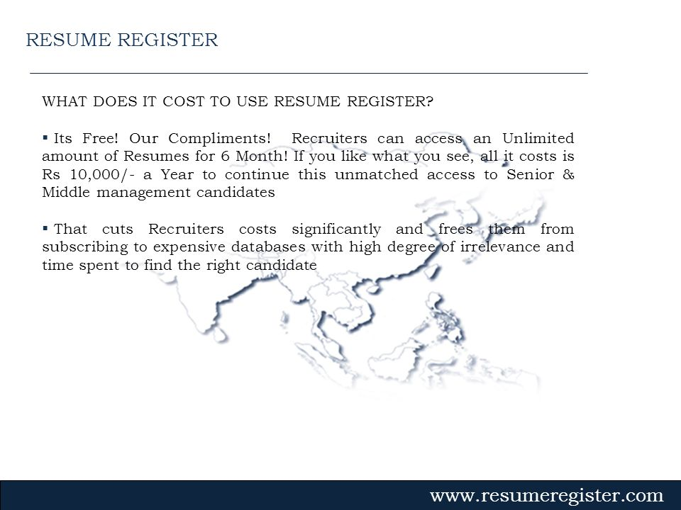 RESUME REGISTER WHAT DOES IT COST TO USE RESUME REGISTER