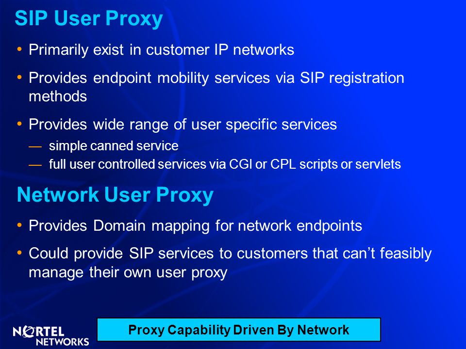 Proxy Capability Driven By Network