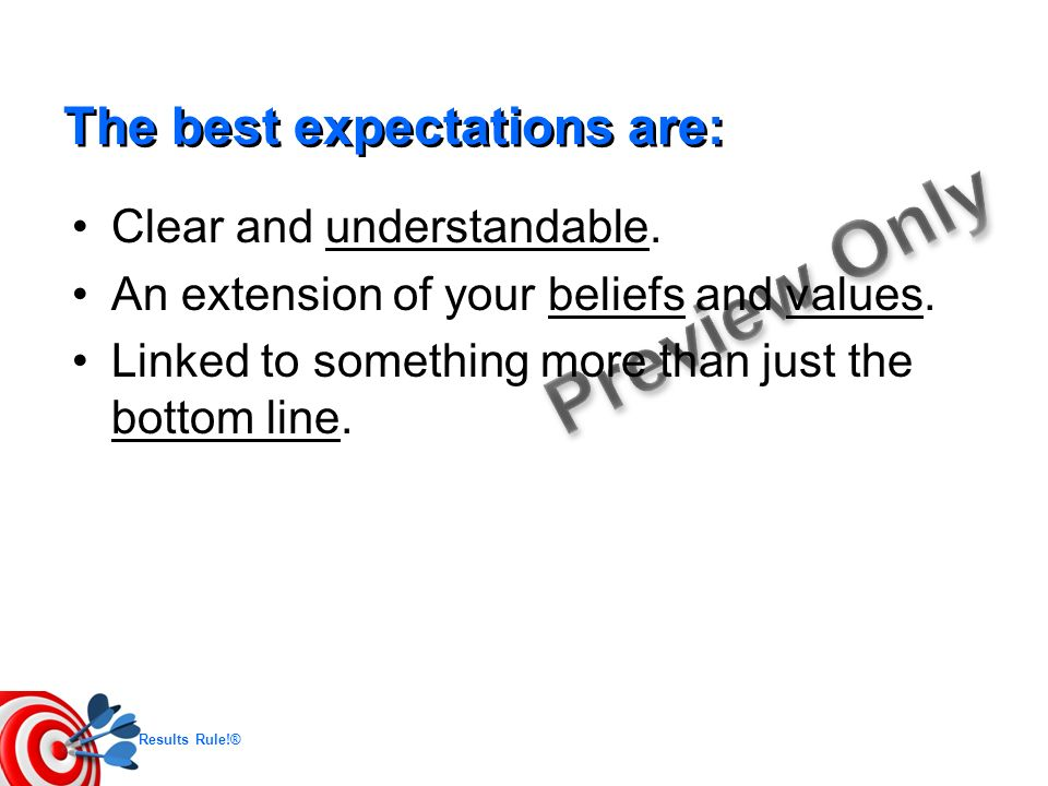 The best expectations are: