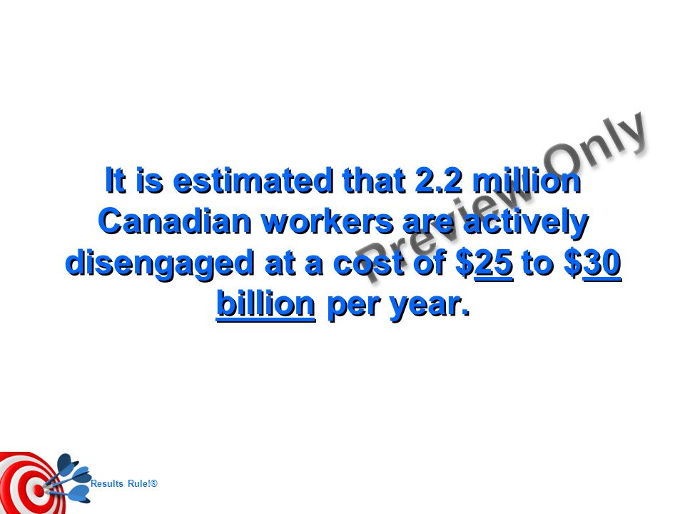It is estimated that 2.2 million Canadian workers are actively disengaged at a cost of $25 to $30 billion per year.