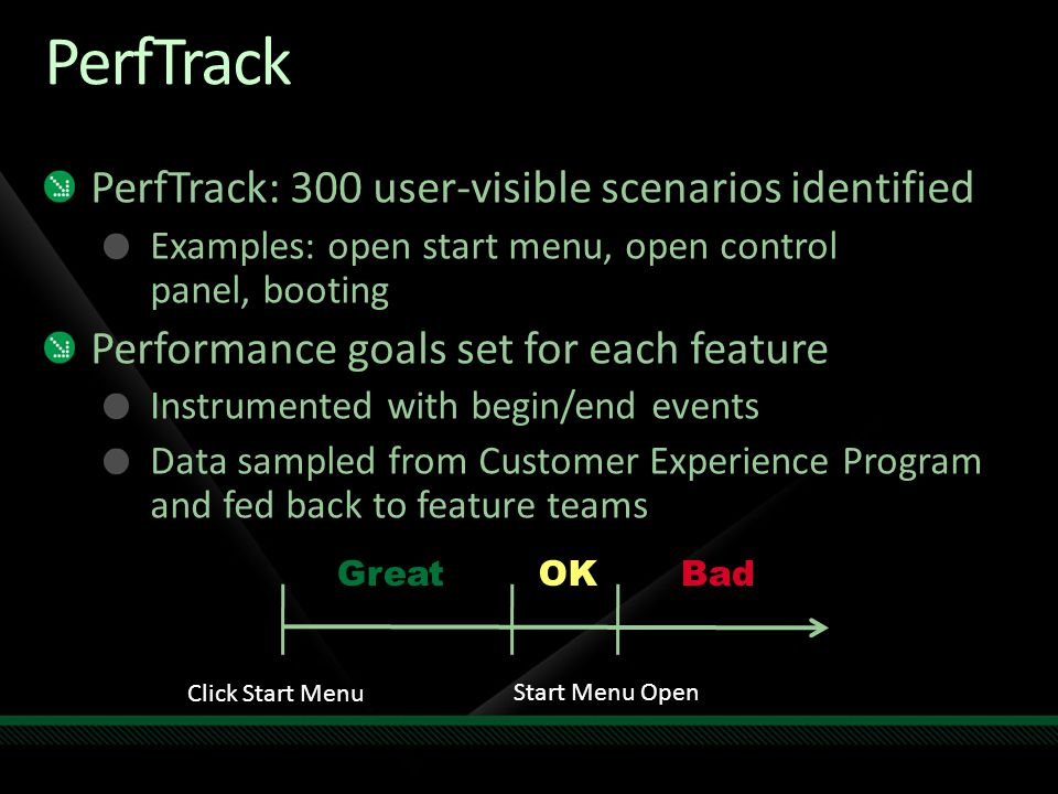 PerfTrack PerfTrack: 300 user-visible scenarios identified
