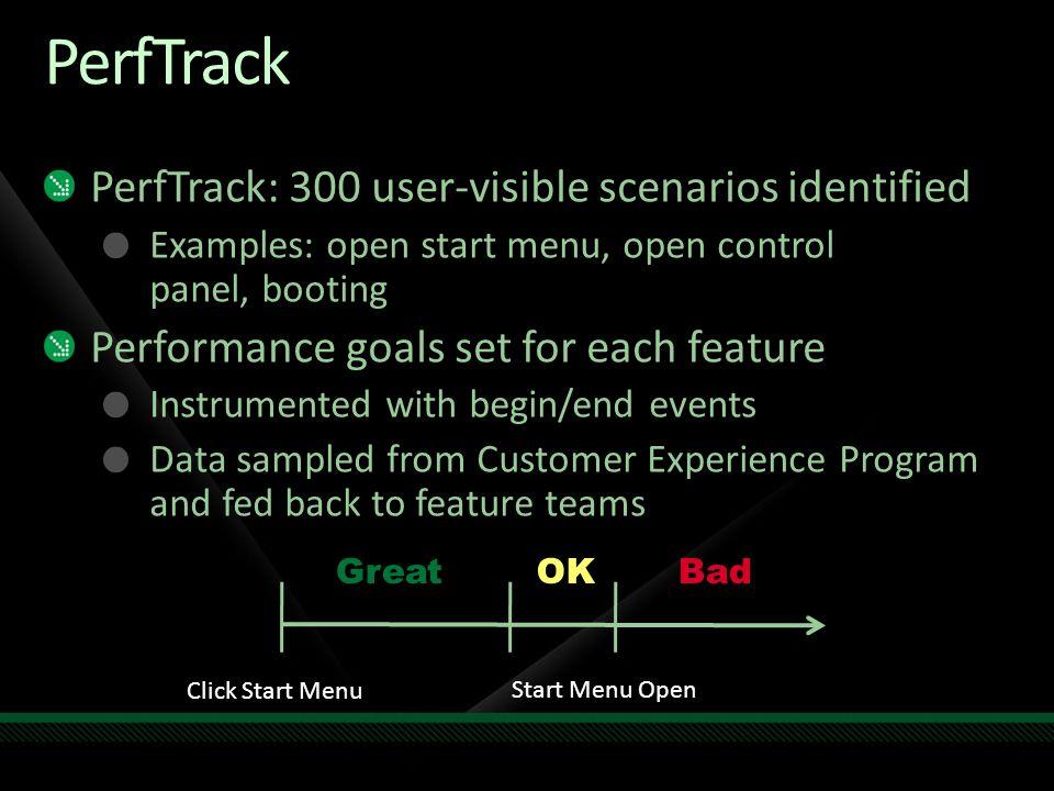 PerfTrack PerfTrack: 300 user-visible scenarios identified