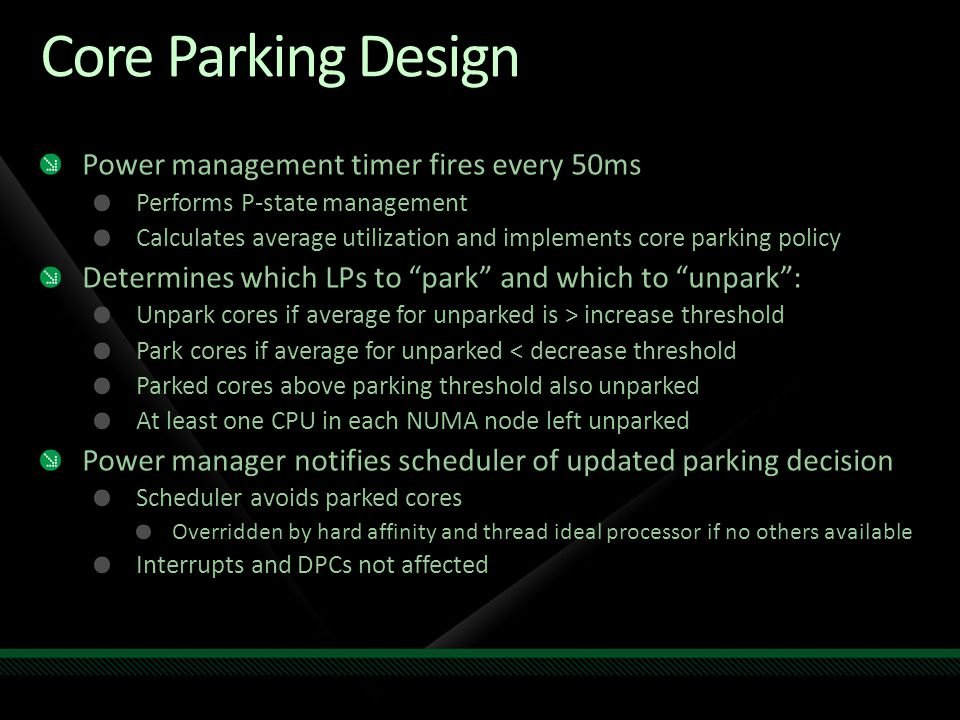 Core Parking Design Power management timer fires every 50ms