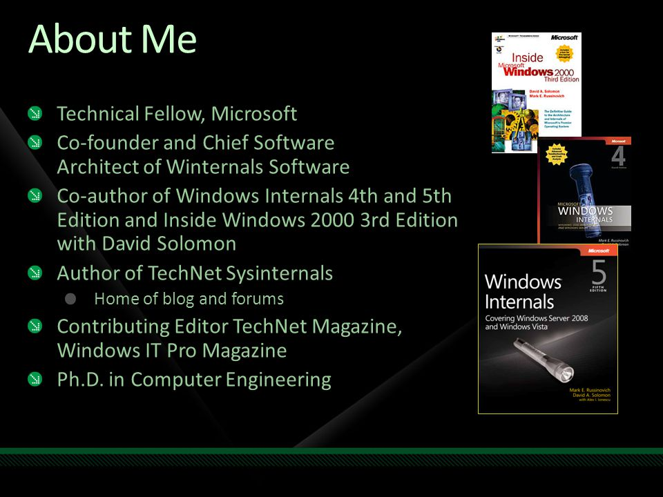 About Me Technical Fellow, Microsoft