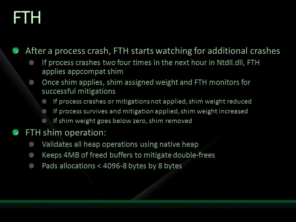 FTH After a process crash, FTH starts watching for additional crashes