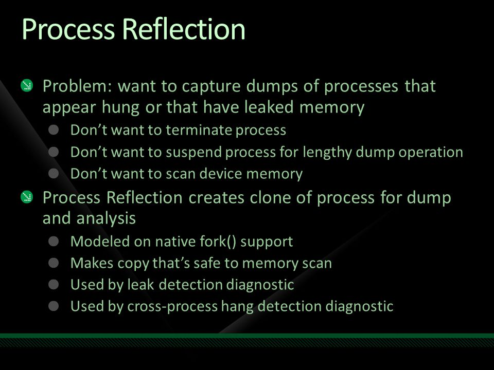 Process Reflection Problem: want to capture dumps of processes that appear hung or that have leaked memory.