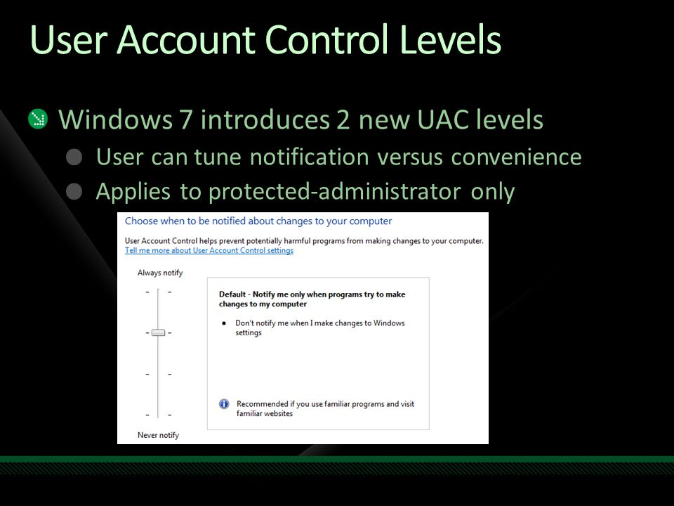 User Account Control Levels