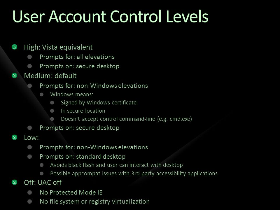 User Account Control Levels