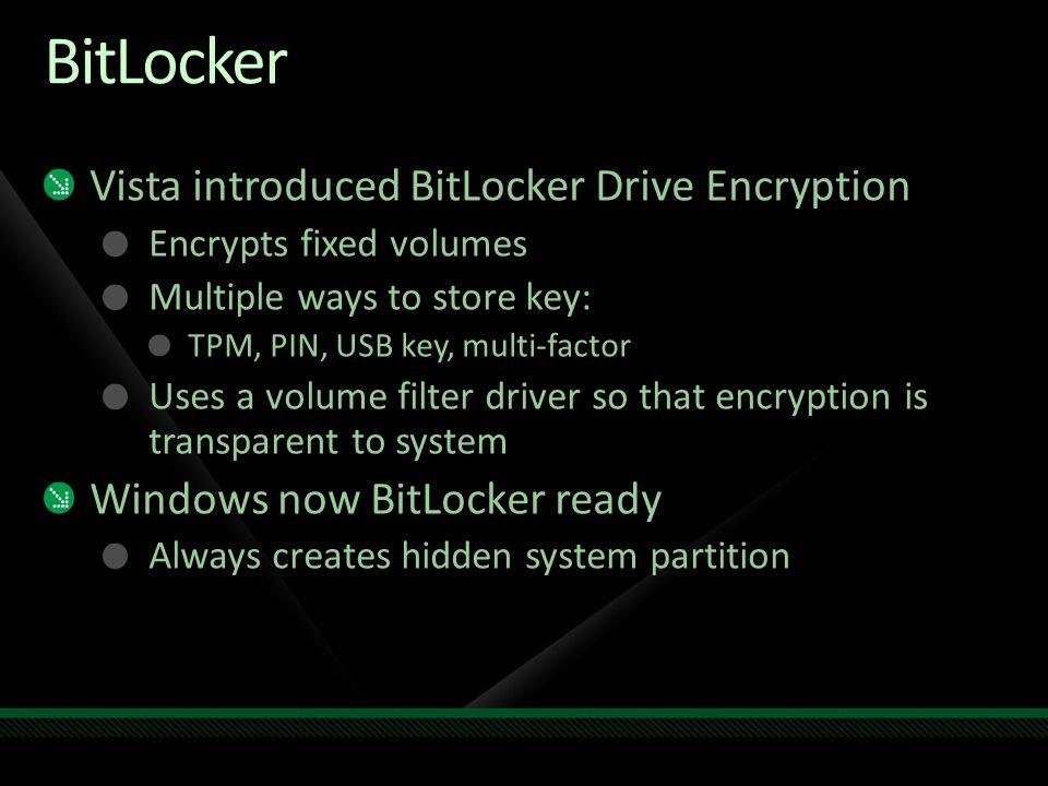 BitLocker Vista introduced BitLocker Drive Encryption