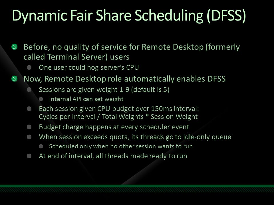 Dynamic Fair Share Scheduling (DFSS)