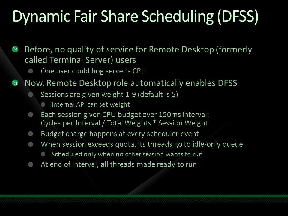 Dynamic Fair Share Scheduling (DFSS)