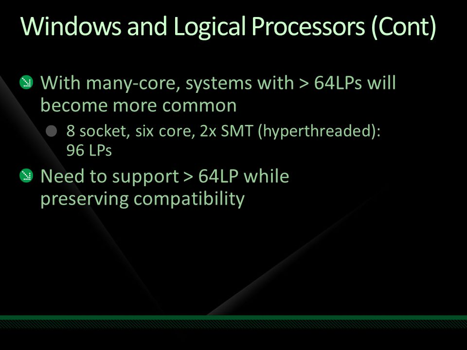 Windows and Logical Processors (Cont)