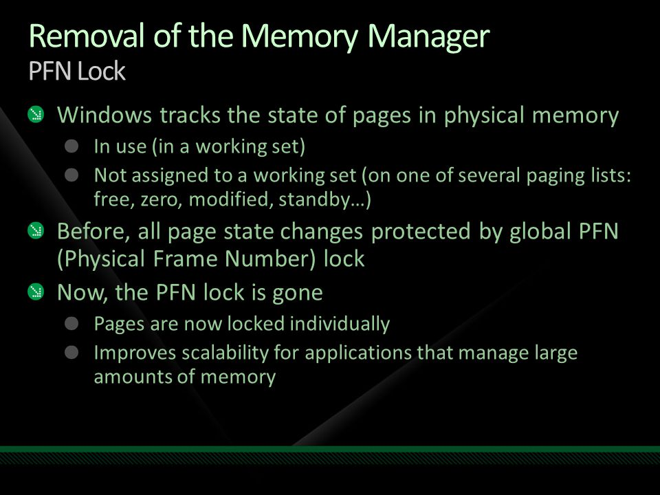 Removal of the Memory Manager PFN Lock