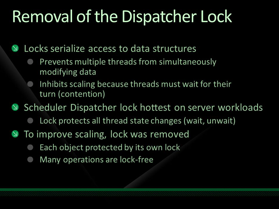 Removal of the Dispatcher Lock