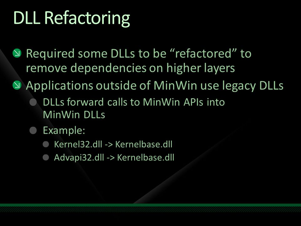 DLL Refactoring Required some DLLs to be refactored to remove dependencies on higher layers. Applications outside of MinWin use legacy DLLs.