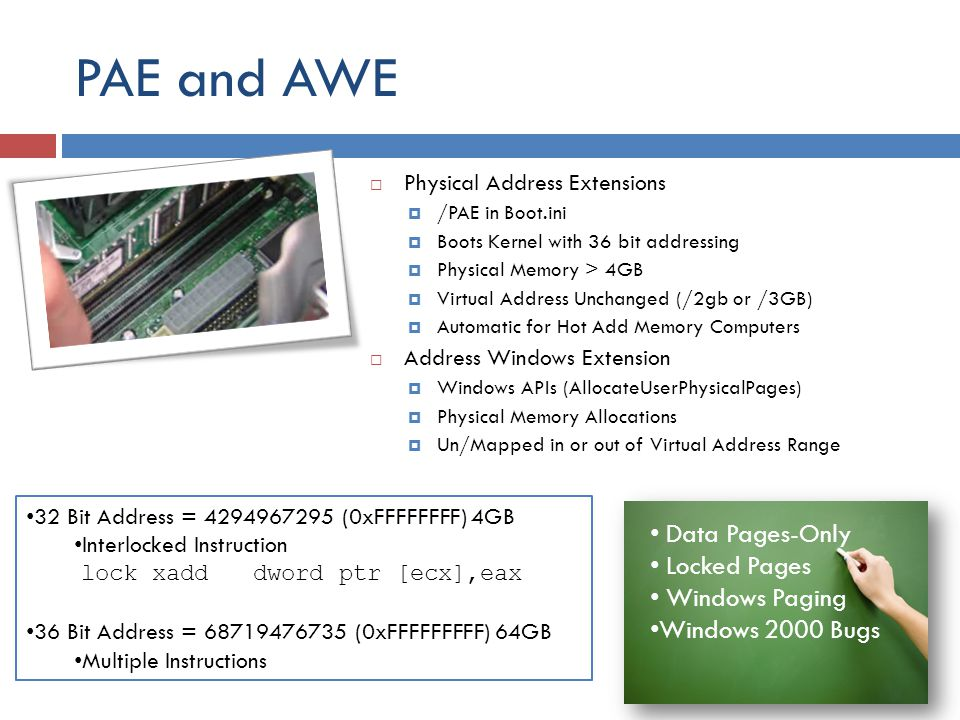 PAE and AWE Data Pages-Only Locked Pages Windows Paging