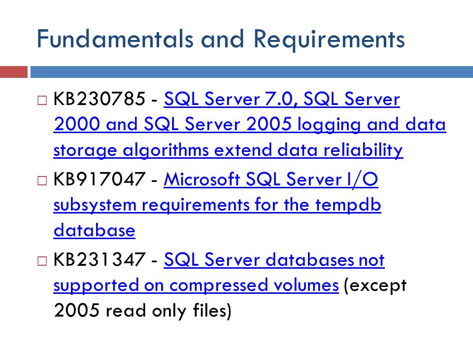 Fundamentals and Requirements