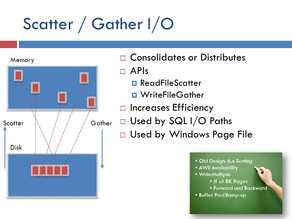Scatter / Gather I/O Consolidates or Distributes APIs