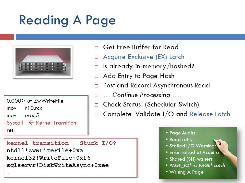 Reading A Page Get Free Buffer for Read Acquire Exclusive (EX) Latch