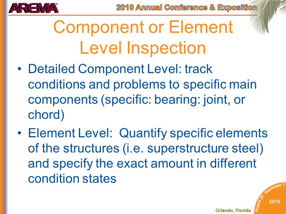 Component or Element Level Inspection