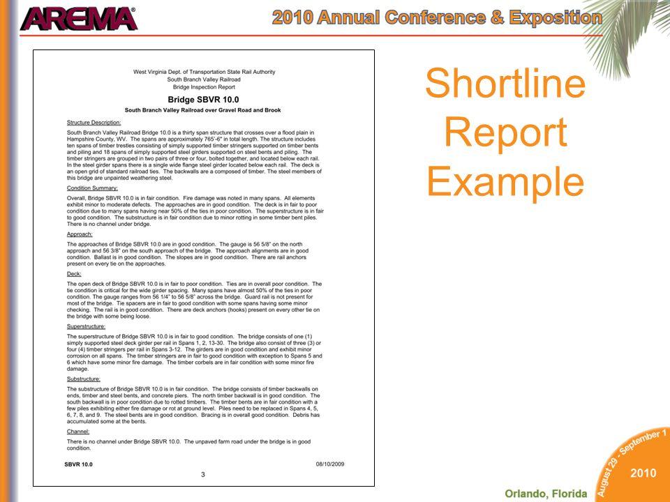 Shortline Report Example