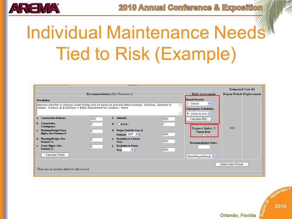 Individual Maintenance Needs Tied to Risk (Example)