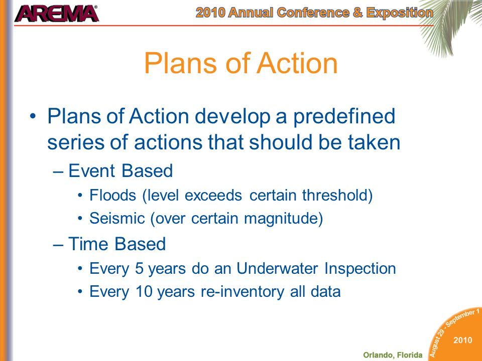 Plans of Action Plans of Action develop a predefined series of actions that should be taken. Event Based.