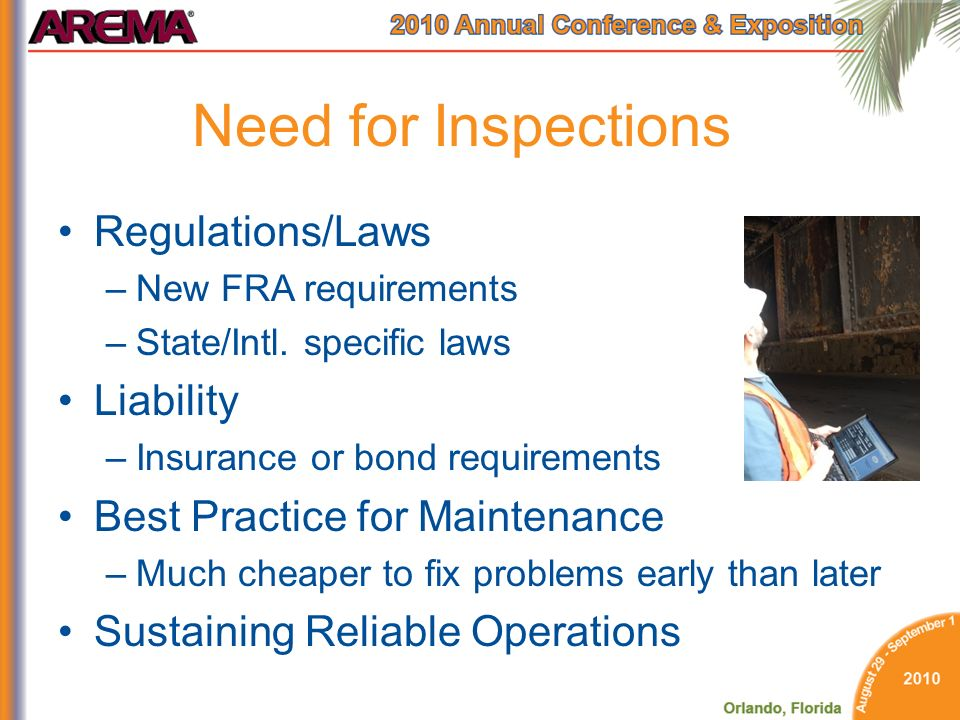 Need for Inspections Regulations/Laws Liability
