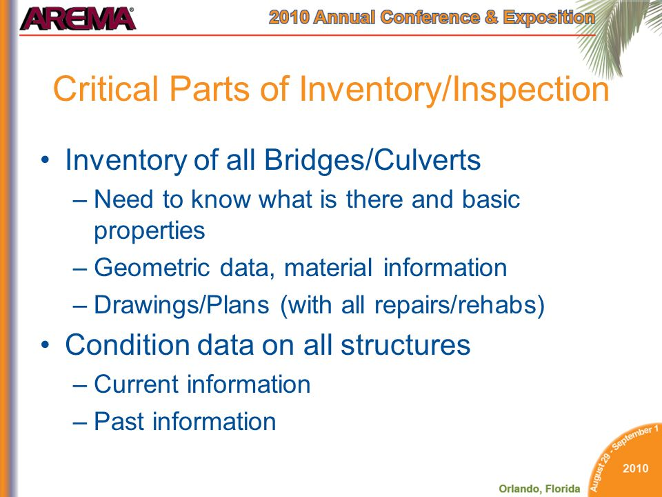 Critical Parts of Inventory/Inspection