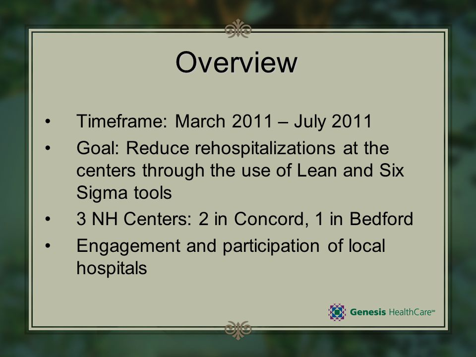 Overview Timeframe: March 2011 – July 2011