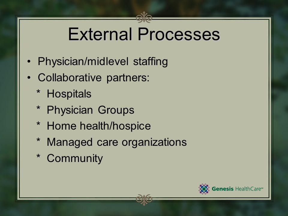 External Processes Physician/midlevel staffing Collaborative partners: