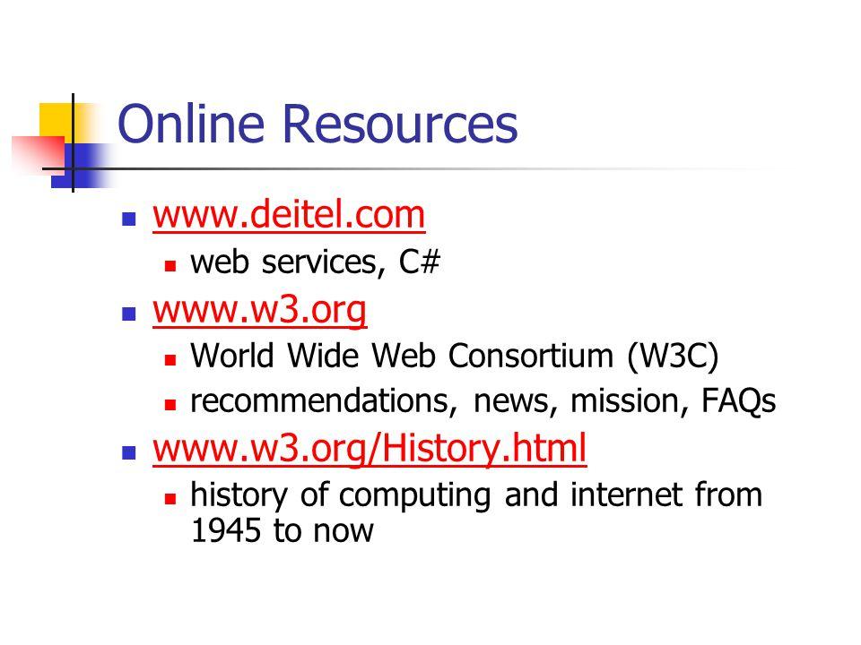 Online Resources www.deitel.com www.w3.org www.w3.org/History.html