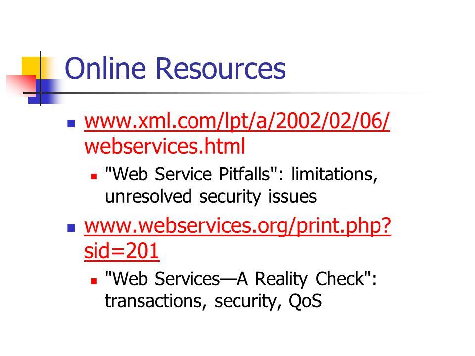 Online Resources www.xml.com/lpt/a/2002/02/06/ webservices.html