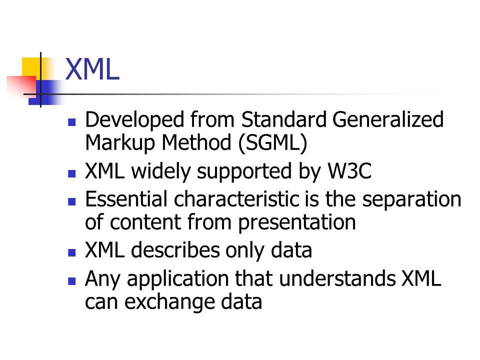XML Developed from Standard Generalized Markup Method (SGML)