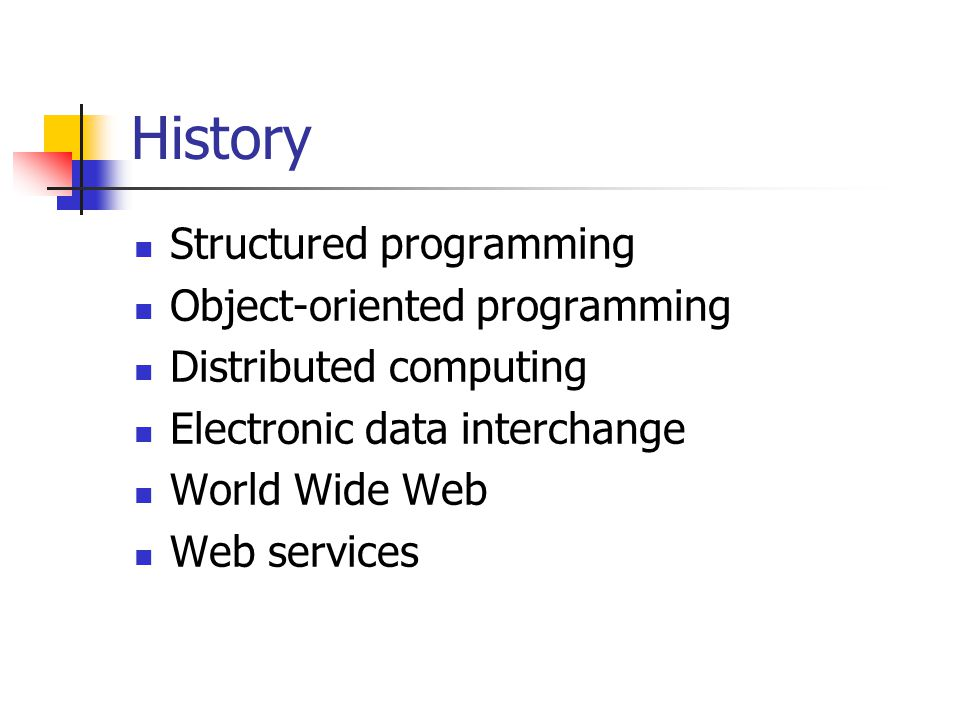 History Structured programming Object-oriented programming