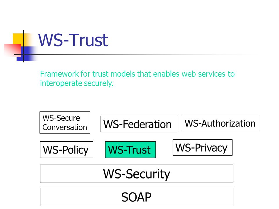 WS-Trust WS-Security SOAP WS-Federation WS-Privacy WS-Policy WS-Trust