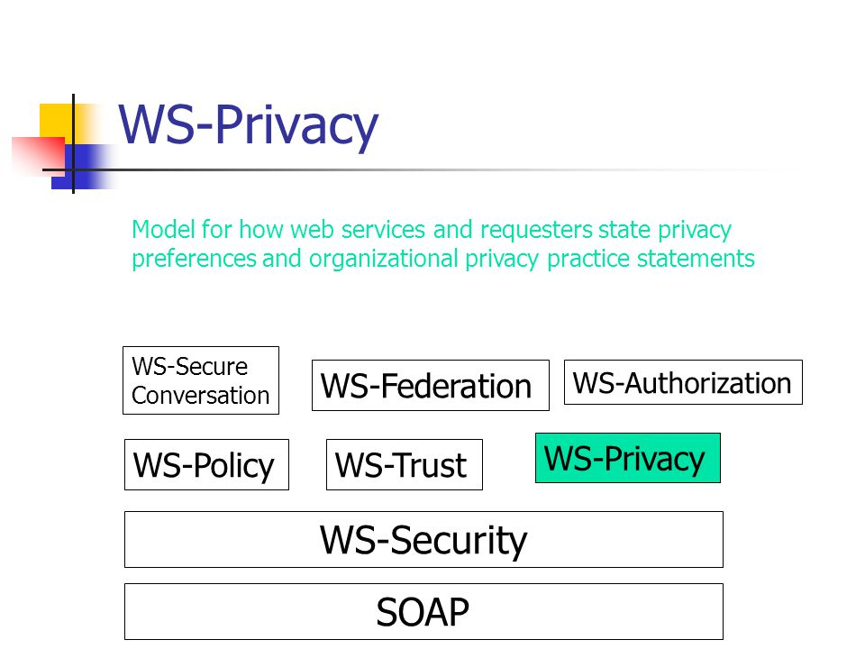WS-Privacy WS-Security SOAP WS-Federation WS-Privacy WS-Policy