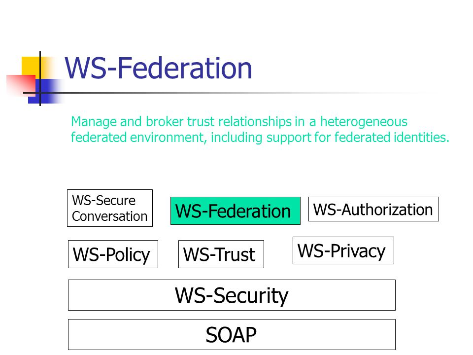 WS-Federation WS-Security SOAP WS-Federation WS-Privacy WS-Policy