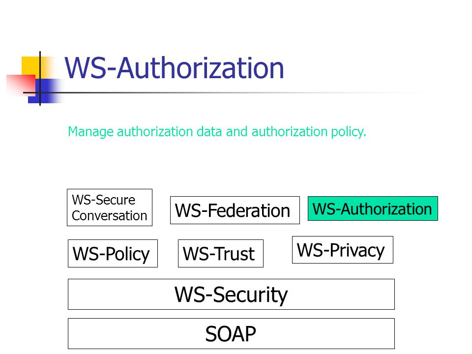 WS-Authorization WS-Security SOAP WS-Federation WS-Privacy WS-Policy