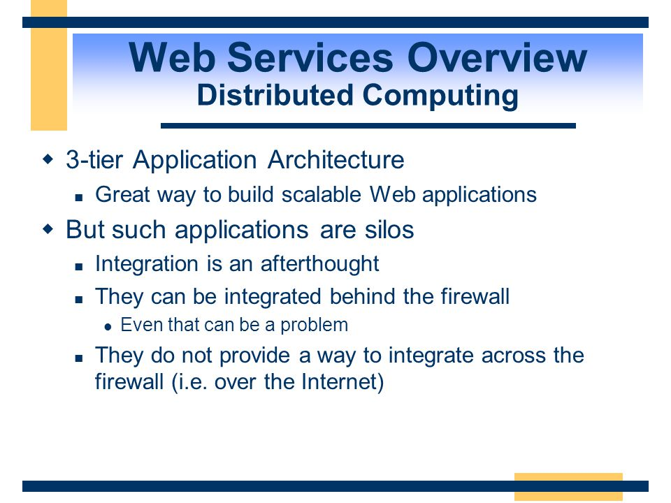 Web Services Overview Distributed Computing