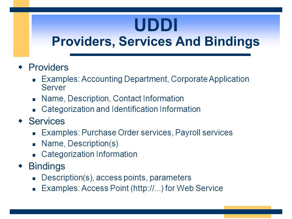 UDDI Providers, Services And Bindings