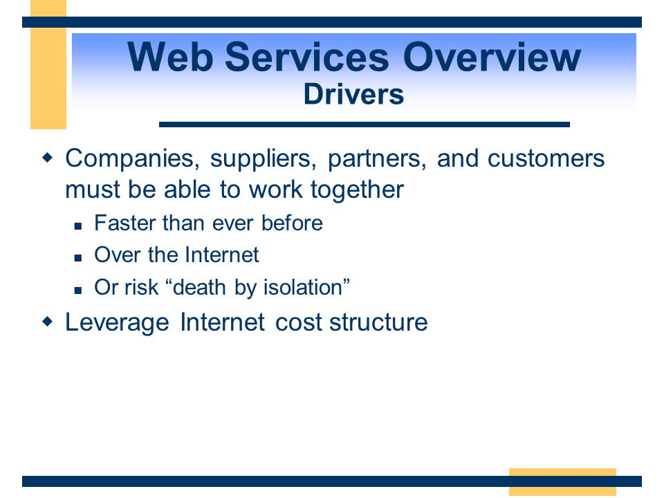 Web Services Overview Drivers