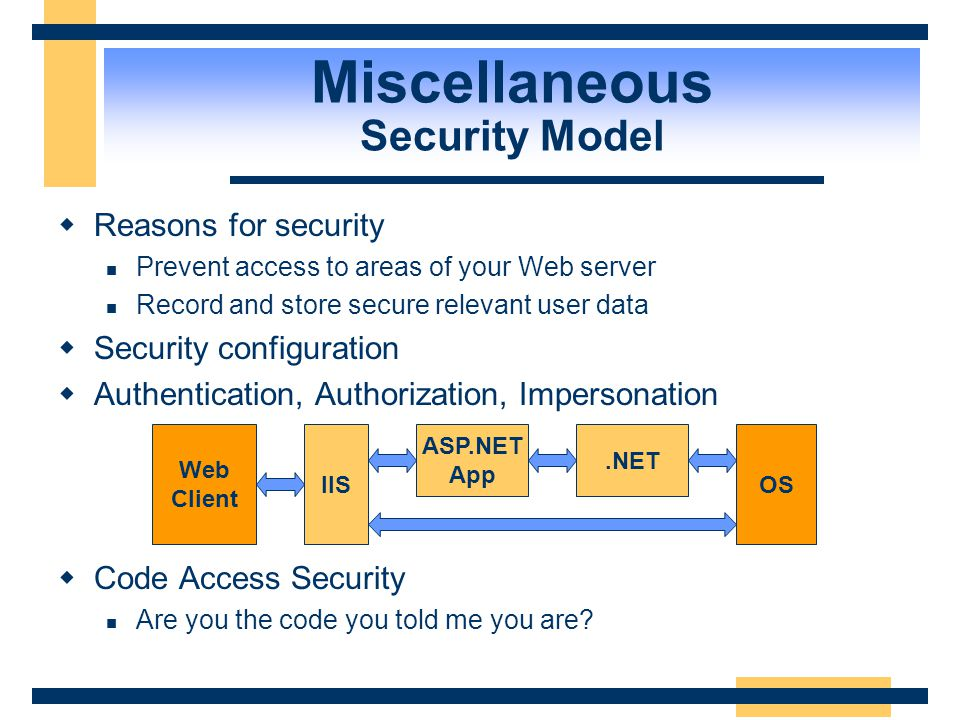 Miscellaneous Security Model