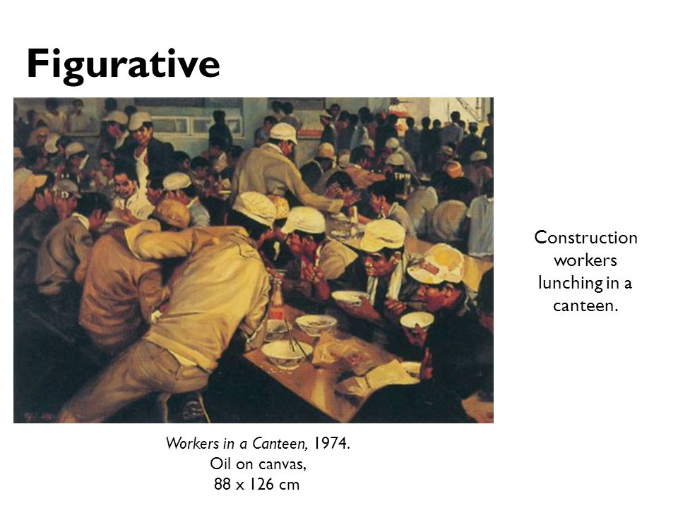 Figurative Construction workers lunching in a canteen.