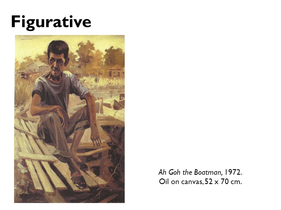 Figurative Ah Goh the Boatman, 1972. Oil on canvas, 52 x 70 cm.