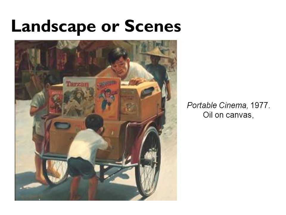 Landscape or Scenes Portable Cinema, Oil on canvas,