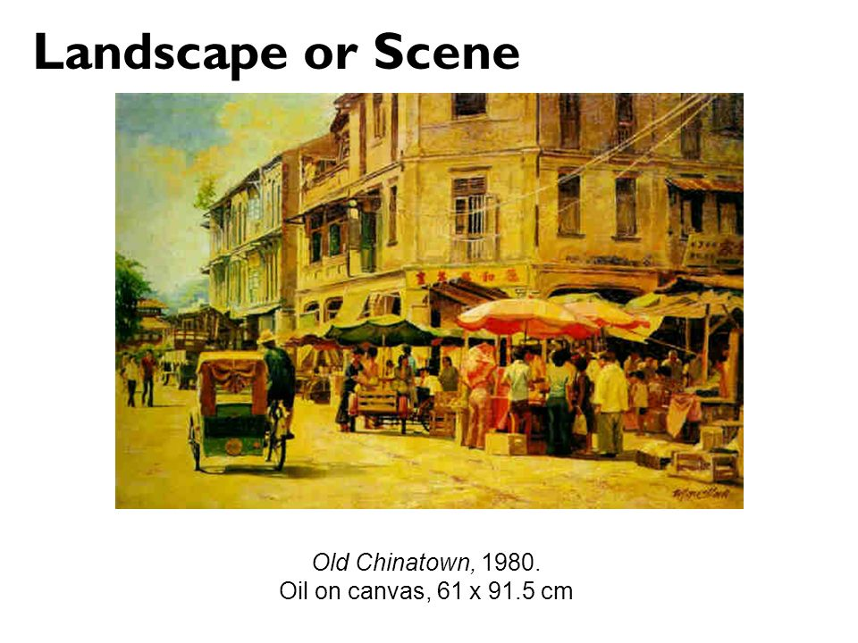Landscape or Scene Old Chinatown, Oil on canvas, 61 x 91.5 cm