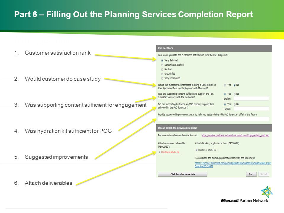 Part 6 – Filling Out the Planning Services Completion Report