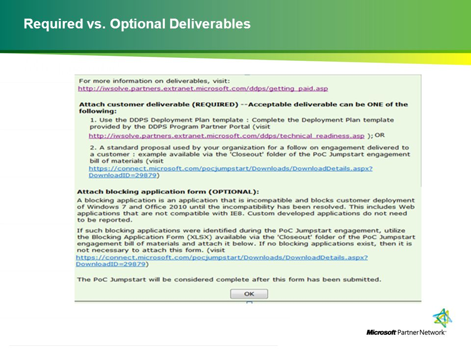 Required vs. Optional Deliverables